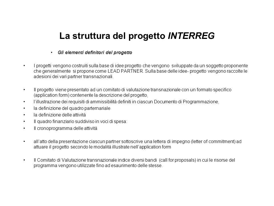 La struttura del progetto INTERREG Gli elementi definitori del progetto I progetti vengono costruiti sulla base di idee progetto che vengono sviluppat
