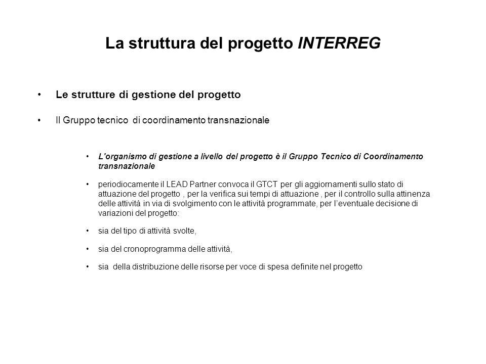 La struttura del progetto INTERREG Le strutture di gestione del progetto Il Gruppo tecnico di coordinamento transnazionale L'organismo di gestione a l
