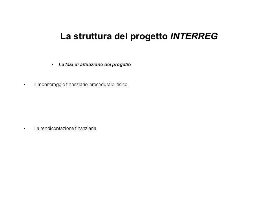 La struttura del progetto INTERREG Le fasi di attuazione del progetto Il monitoraggio finanziario, procedurale, fisico. La rendicontazione finanziaria
