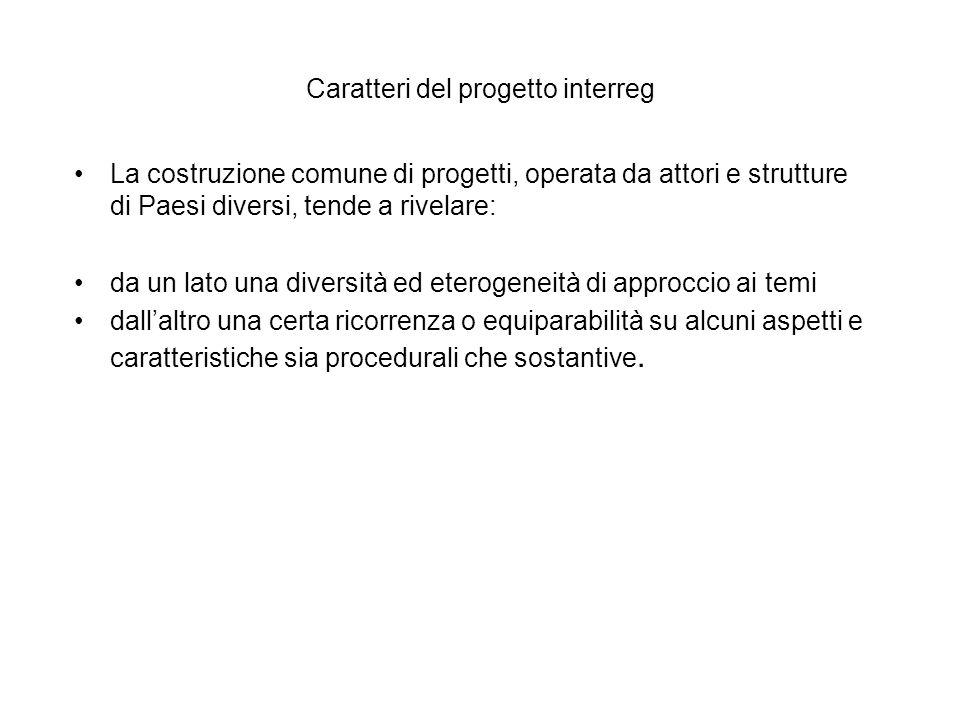 Caratteri del progetto interreg La costruzione comune di progetti, operata da attori e strutture di Paesi diversi, tende a rivelare: da un lato una di