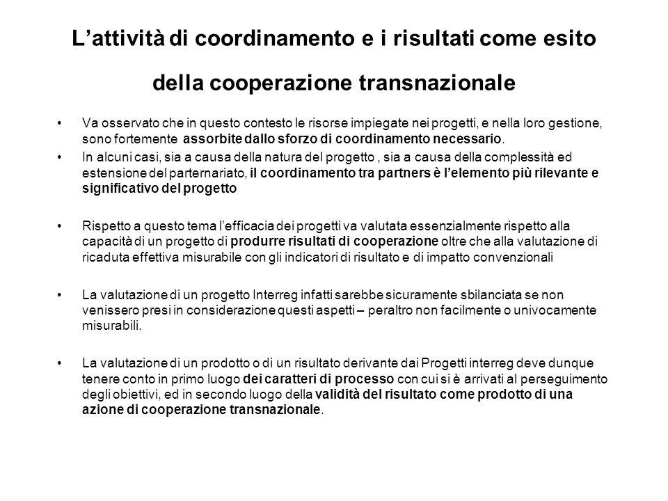 Lattività di coordinamento e i risultati come esito della cooperazione transnazionale Va osservato che in questo contesto le risorse impiegate nei pro
