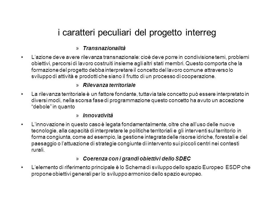 i caratteri peculiari del progetto interreg »Transnazionalità Lazione deve avere rilevanza transnazionale: cioè deve porre in condivisione temi, probl