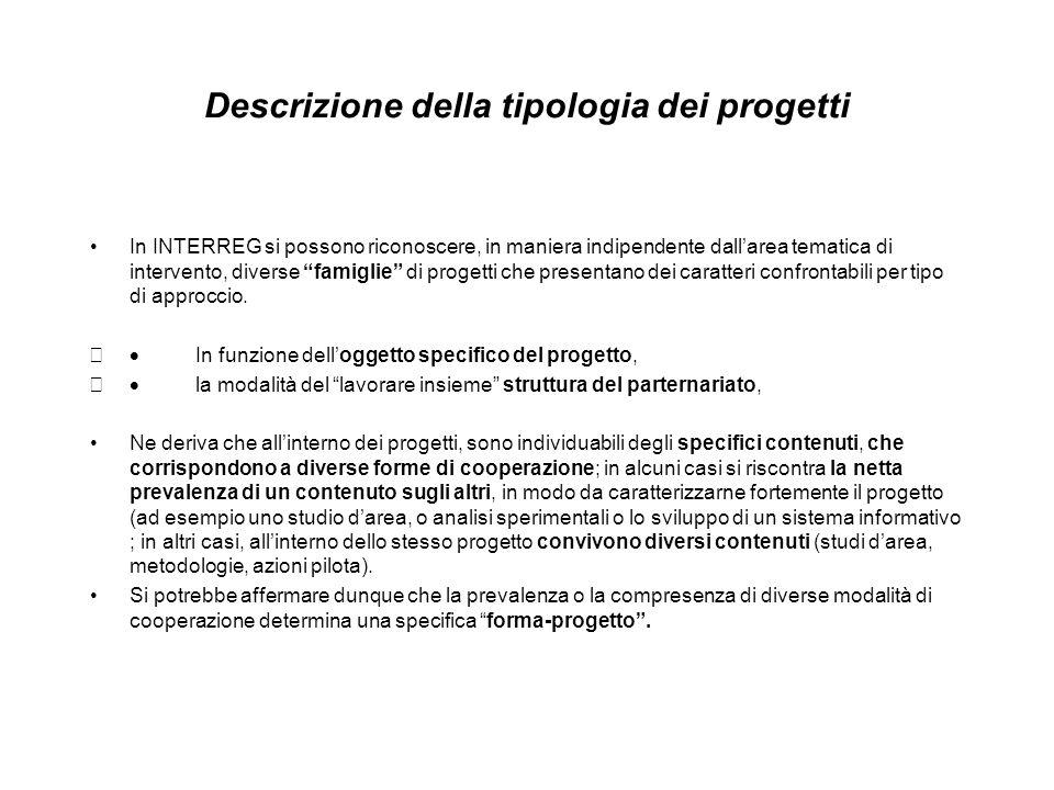 Descrizione della tipologia dei progetti In INTERREG si possono riconoscere, in maniera indipendente dallarea tematica di intervento, diverse famiglie