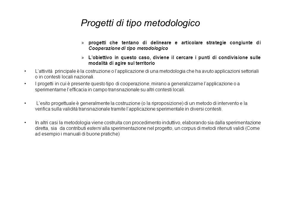 Progetti su metodologie: dagli studi di area ai sistemi integrati di gestione Si possono individuare due livelli di sperimentazione: quello degli strumenti e quello dei contenuti.