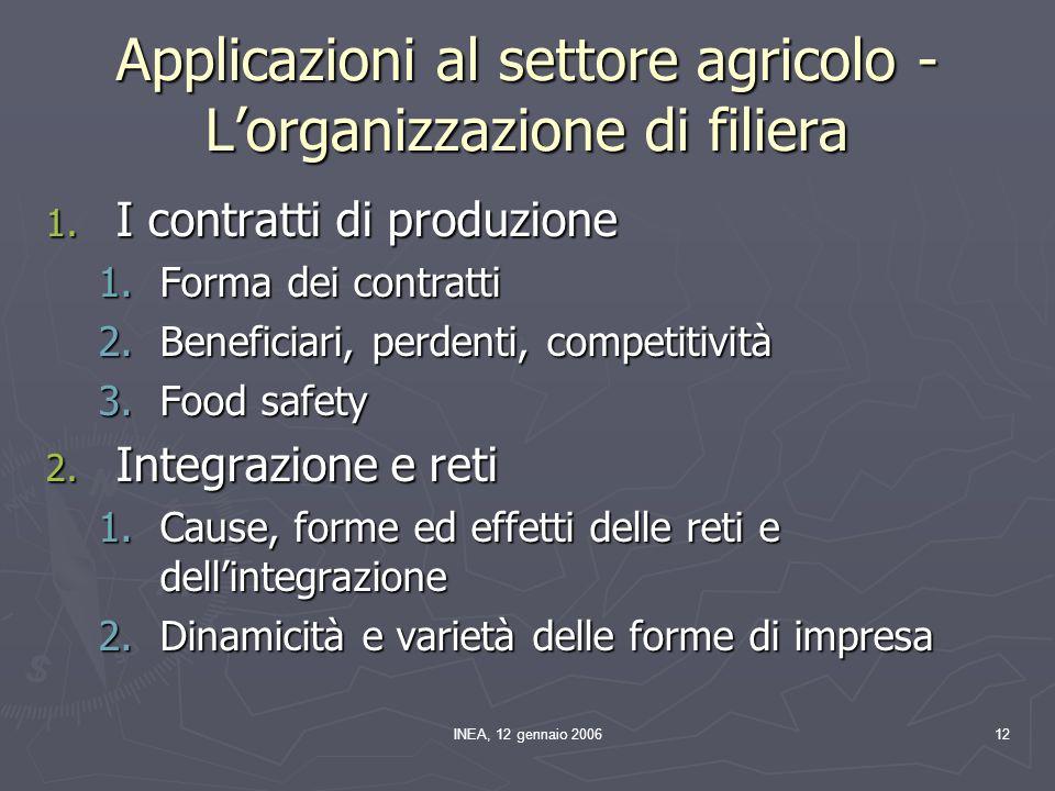 INEA, 12 gennaio 200612 Applicazioni al settore agricolo - Lorganizzazione di filiera 1.