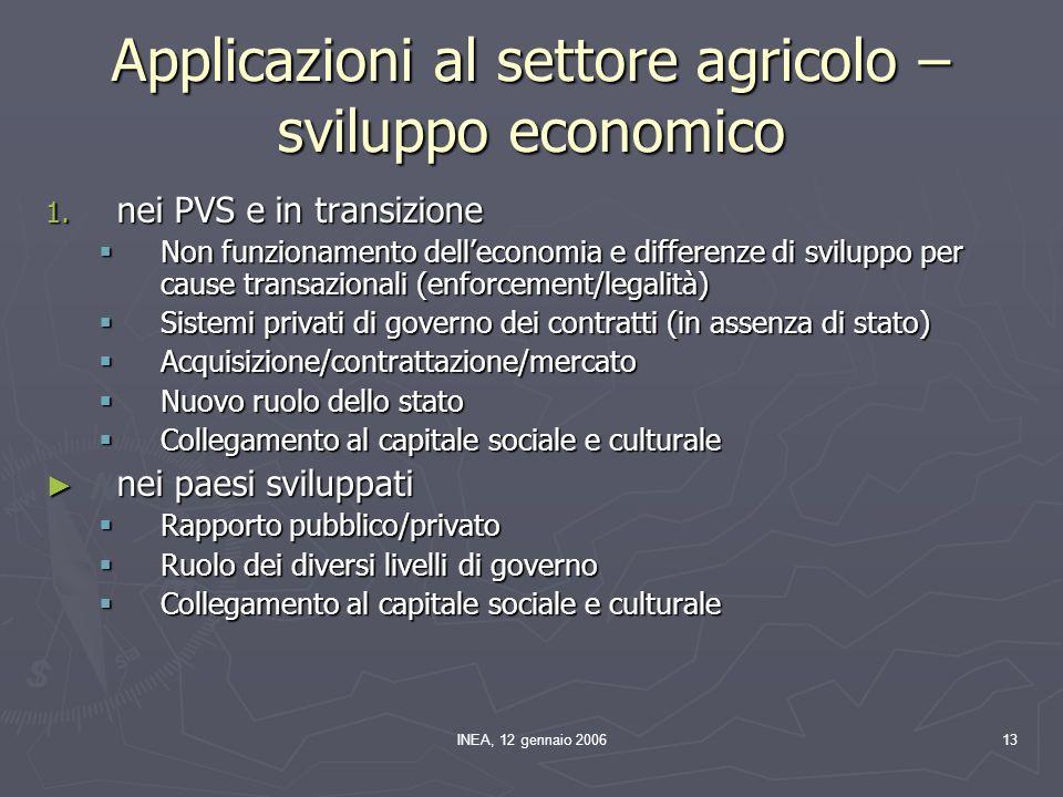 INEA, 12 gennaio 200613 Applicazioni al settore agricolo – sviluppo economico 1.