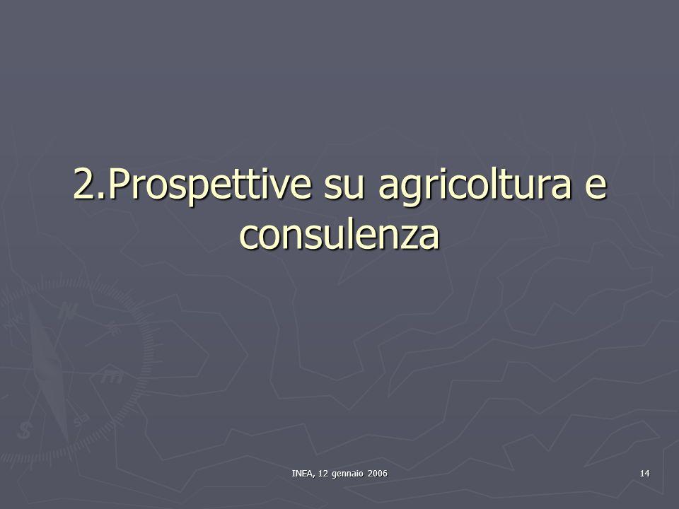 INEA, 12 gennaio 2006 14 2.Prospettive su agricoltura e consulenza