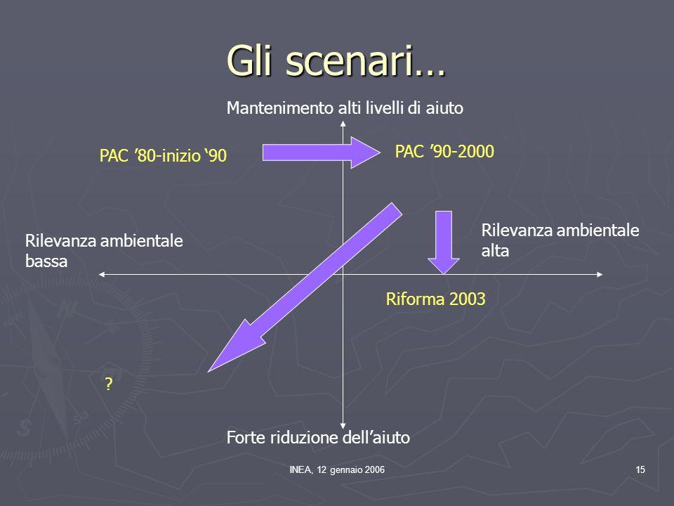 INEA, 12 gennaio 200615 Gli scenari… Rilevanza ambientale bassa Rilevanza ambientale alta Mantenimento alti livelli di aiuto Forte riduzione dellaiuto PAC 90-2000 .