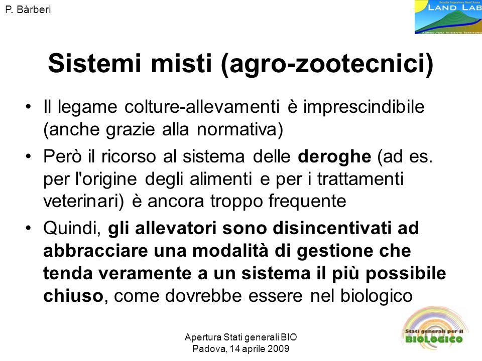 Apertura Stati generali BIO Padova, 14 aprile 2009 Sistemi misti (agro-zootecnici) Il legame colture-allevamenti è imprescindibile (anche grazie alla normativa) Però il ricorso al sistema delle deroghe (ad es.