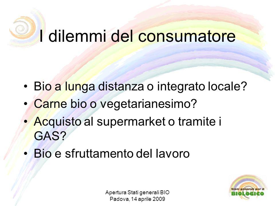 I dilemmi del consumatore Bio a lunga distanza o integrato locale.