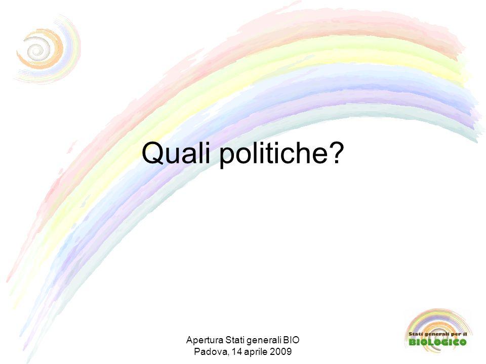 Quali politiche Apertura Stati generali BIO Padova, 14 aprile 2009