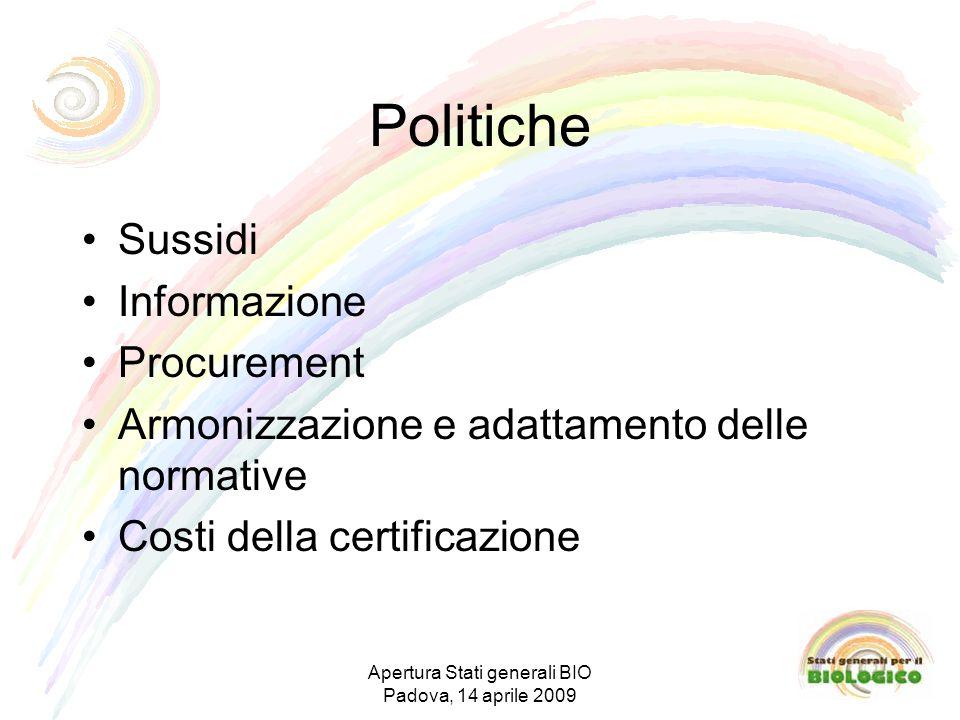Politiche Sussidi Informazione Procurement Armonizzazione e adattamento delle normative Costi della certificazione Apertura Stati generali BIO Padova, 14 aprile 2009
