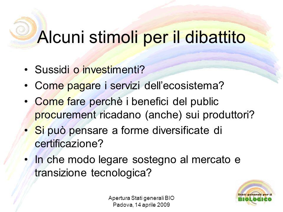Alcuni stimoli per il dibattito Sussidi o investimenti.
