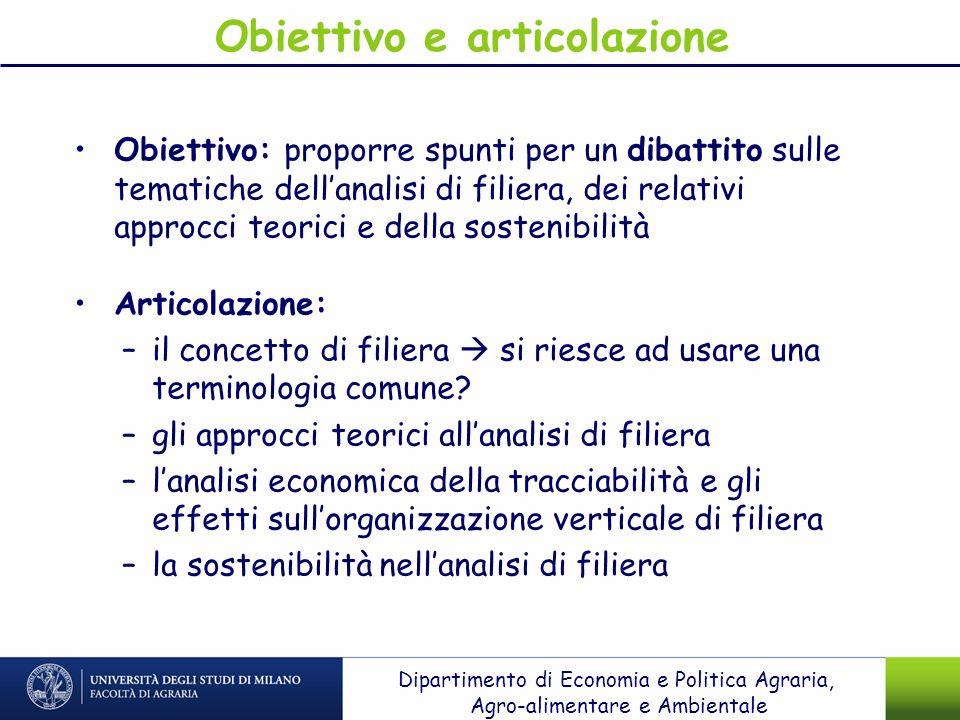 Obiettivo e articolazione Obiettivo: proporre spunti per un dibattito sulle tematiche dellanalisi di filiera, dei relativi approcci teorici e della so