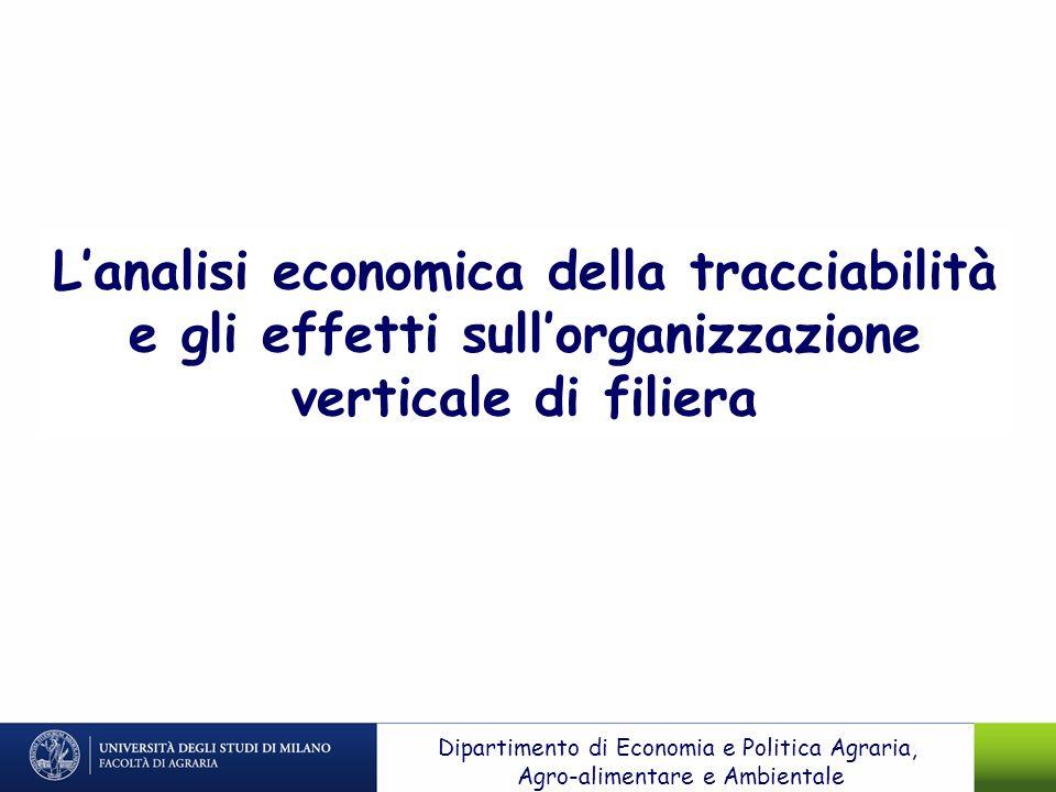 Lanalisi economica della tracciabilità e gli effetti sullorganizzazione verticale di filiera Dipartimento di Economia e Politica Agraria, Agro-aliment