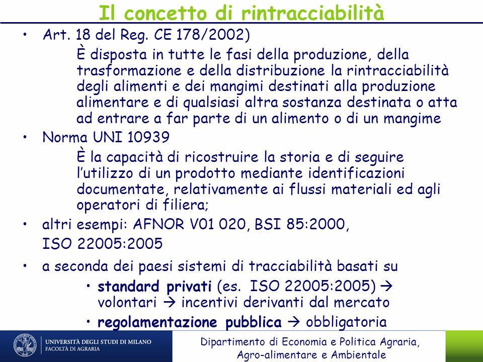 Il concetto di rintracciabilità Art. 18 del Reg. CE 178/2002) È disposta in tutte le fasi della produzione, della trasformazione e della distribuzione