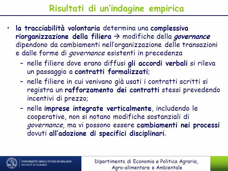 Risultati di unindagine empirica la tracciabilità volontaria determina una complessiva riorganizzazione della filiera modifiche della governance dipen