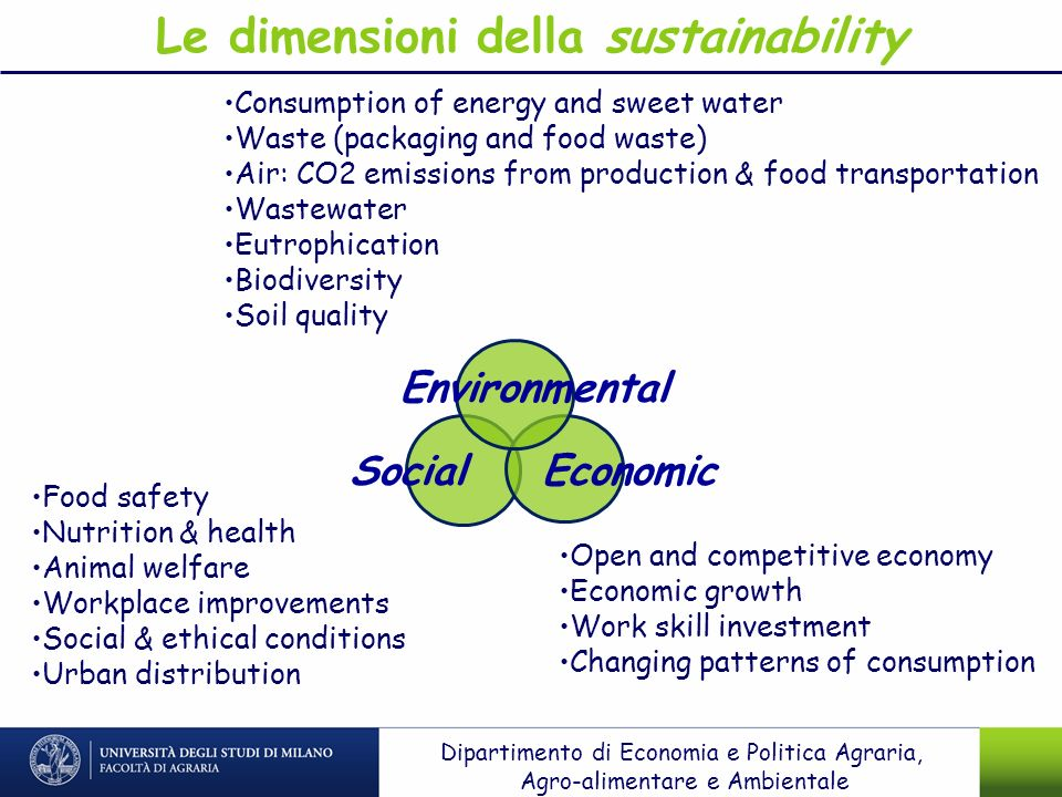 Le dimensioni della sustainability Consumption of energy and sweet water Waste (packaging and food waste) Air: CO2 emissions from production & food tr