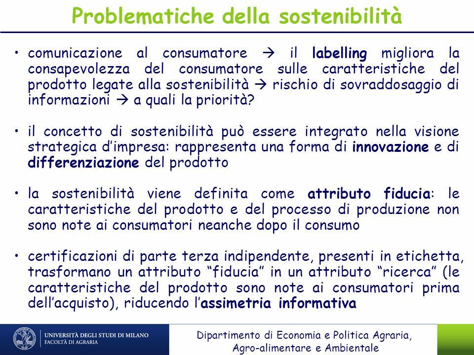 Problematiche della sostenibilità comunicazione al consumatore il labelling migliora la consapevolezza del consumatore sulle caratteristiche del prodo