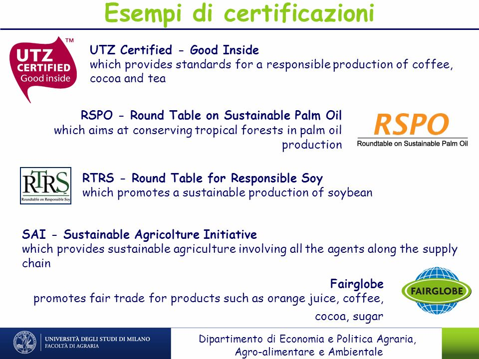 Esempi di certificazioni UTZ Certified - Good Inside which provides standards for a responsible production of coffee, cocoa and tea RSPO - Round Table