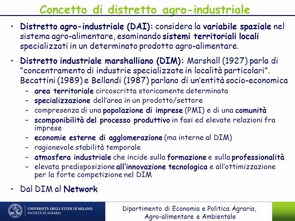 Concetto di distretto agro-industriale Distretto agro-industriale (DAI): considera la variabile spaziale nel sistema agro-alimentare, esaminando siste