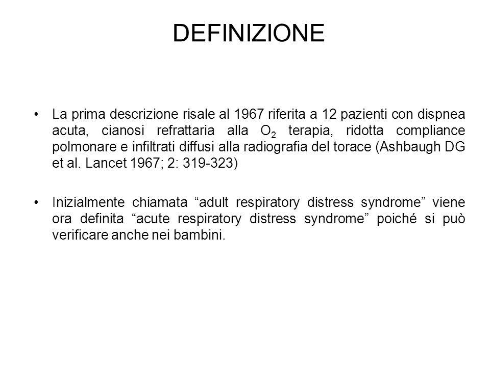DEFINIZIONE La prima descrizione risale al 1967 riferita a 12 pazienti con dispnea acuta, cianosi refrattaria alla O 2 terapia, ridotta compliance pol