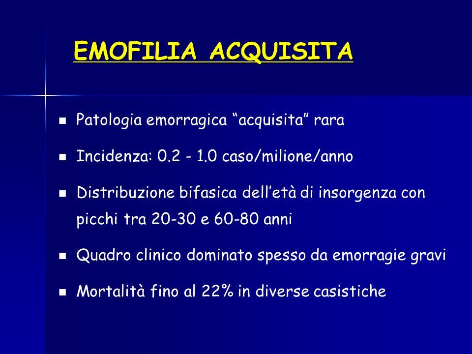 EMOFILIA ACQUISITA Patologia emorragica acquisita rara Incidenza: 0.2 - 1.0 caso/milione/anno Distribuzione bifasica delletà di insorgenza con picchi