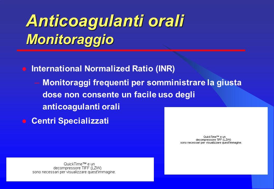 International Normalized Ratio (INR) –Monitoraggi frequenti per somministrare la giusta dose non consente un facile uso degli anticoagulanti orali Centri Specializzati Anticoagulanti orali Monitoraggio