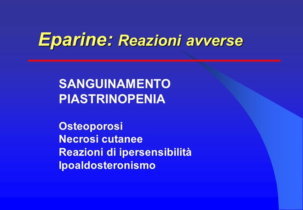 SANGUINAMENTO PIASTRINOPENIA Osteoporosi Necrosi cutanee Reazioni di ipersensibilità Ipoaldosteronismo Eparine: Reazioni avverse
