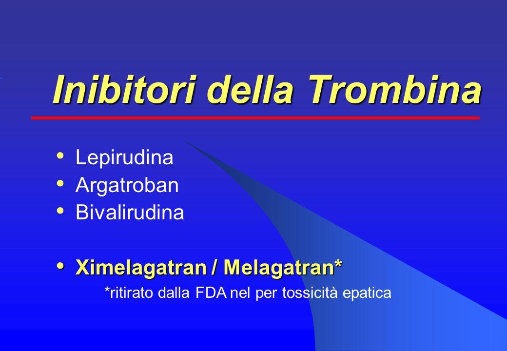 Inibitori della Trombina Lepirudina Argatroban Bivalirudina Ximelagatran / Melagatran* Ximelagatran / Melagatran* *ritirato dalla FDA nel per tossicità epatica