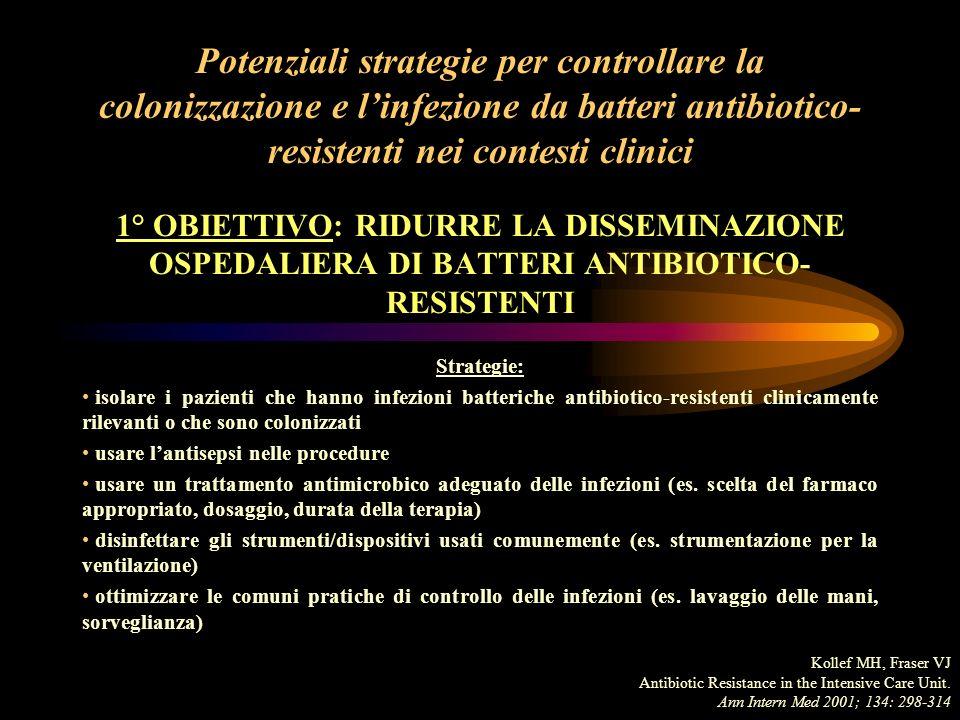 Potenziali strategie per controllare la colonizzazione e linfezione da batteri antibiotico- resistenti nei contesti clinici 2° OBIETTIVO: RIDURRE LE MUTAZIONI GENETICHE O IL TRASFERIMENTO DI GENI RIDUCENDO LA CRESCITA BATTERICA Strategie: fare unadeguata profilassi antibiotica e decontaminare ridurre le concentrazioni di microrganismi (drenare ascessi, empiemi) Kollef MH, Fraser VJ Antibiotic Resistance in the Intensive Care Unit.