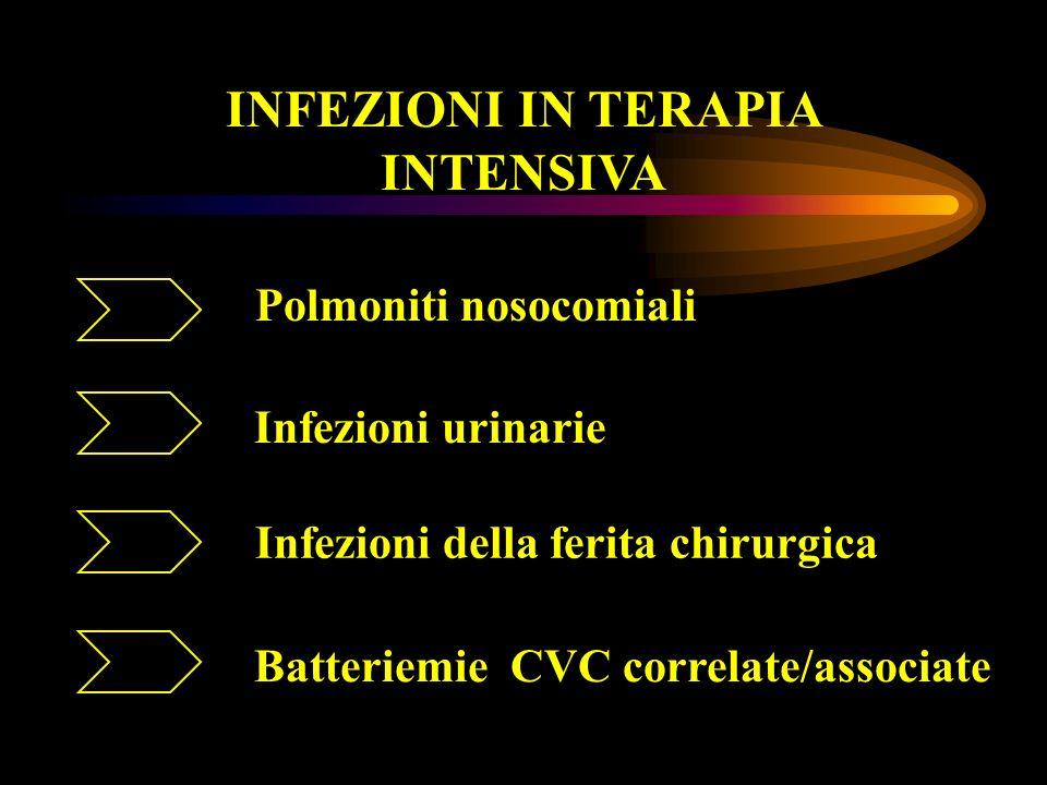 Infezioni in Terapia Intensiva Polmoniti nosocomiali...infiammazione del parenchima polmonare sostenuta da agenti infettivi, in pazienti ricoverati da almeno 48 ore, non in incubazione al momento del ricovero...