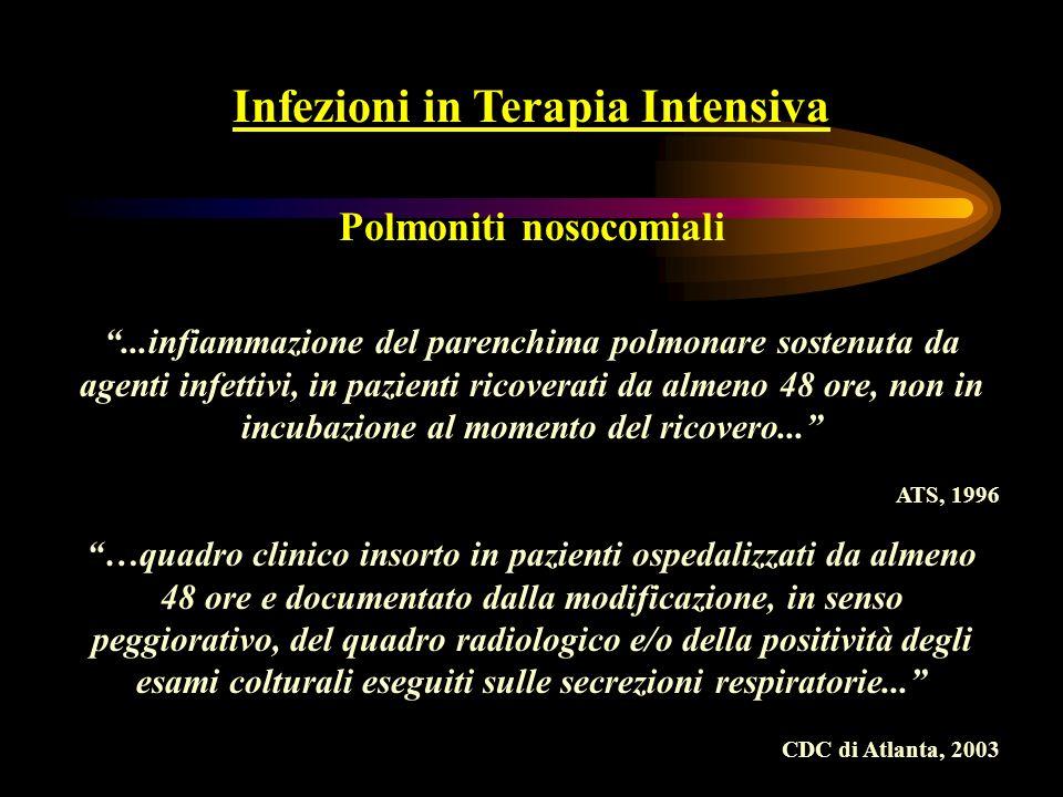 Infezioni in Terapia Intensiva Ventilator-Associated Pneumonia (VAP) …con il termine di Ventilator-Associated Pneumonia (VAP), si intende il particolare quadro di polmonite nosocomiale che si sviluppa a carico del paziente sottoposto a ventilazione meccanica e non in incubazione al momento dellinizio della stessa…si parla di EARLY e LATE-onset a seconda che insorga entro oppure oltre le prime 96 ore di ventilazione… Rello J et al (2003) Crit Care Med 31:2544