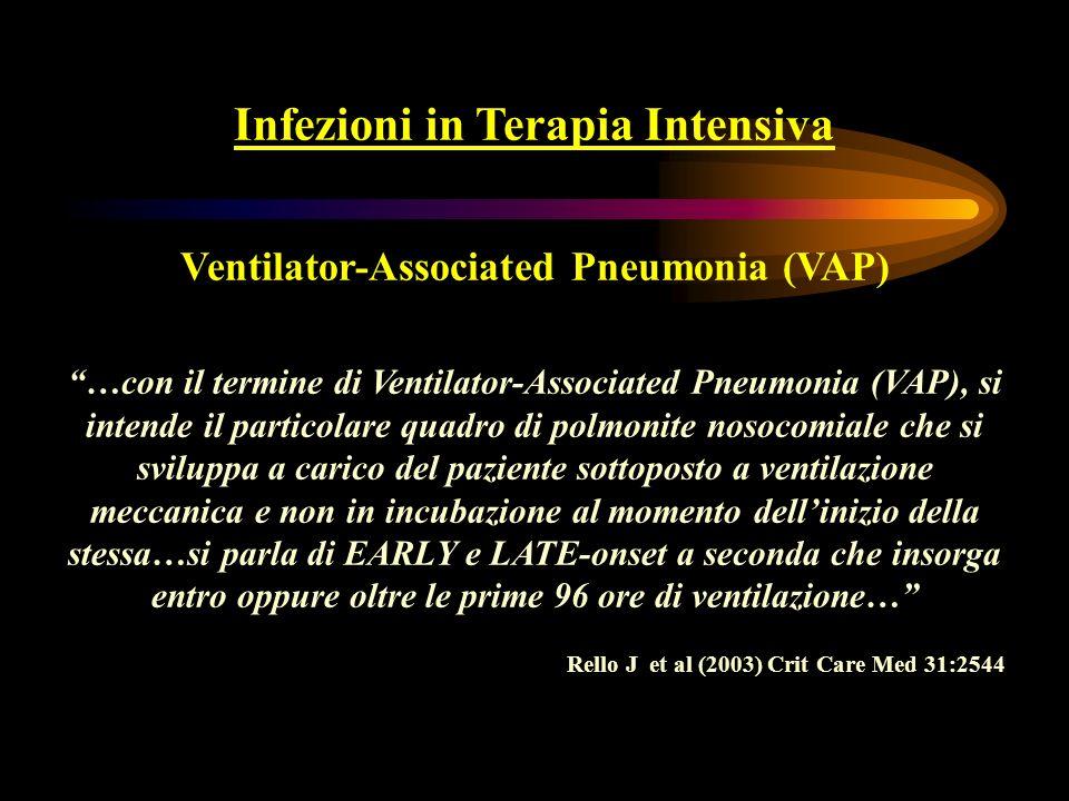 Polmoniti nosocomiali Epidemiologia Le più frequenti infezioni nosocomiali in pazienti ricoverati in Terapie Intensive medico-chirurgiche Menichetti F (1997) Giorn It Mal Inf 3 (suppl1):S5-9 L83% delle polmoniti nosocomiali è associato alla ventilazione meccanica (VAP) Richards MJ et al (2000) Infect Control Hosp Epidemiol 21:510-15 Incidenza di VAP: 6.7-24.1/1000 gg di ventilazione invasiva Mortalità cruda: 20-70% Rischio di morte da 2 a 10 volte maggiore in pazienti affetti da VAP e degenti in TI Rello J (2003) Crit Care Med 31:2544