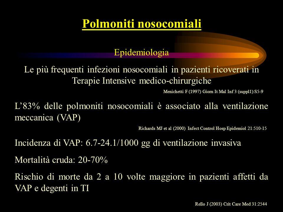 Polmoniti nosocomiali Epidemiologia Le più frequenti infezioni nosocomiali in pazienti ricoverati in Terapie Intensive medico-chirurgiche Menichetti F