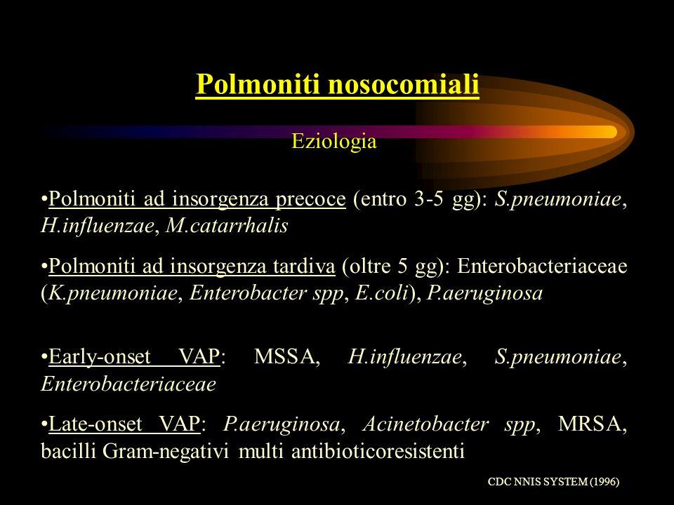 Polmoniti nosocomiali e VAP Terapia Cefalosporine III gen (ceftazidime) o Cefalosporine IV gen (cefepime) o Carbapenemico (imipenem-meropenem) o lattamico protetto (piperacillina/tazobactam) +/- Aminoglicoside (amikacina-gentamicina) Fluorchinolone (ciprofloxacina- levofloxacina) Glicopeptide (vancomicina- teicoplanina) ATS (1996) Am J Resp Crit Care 153:1711-25 Chastre J, Fagon JY (2002) Am J Respir Crit Care Med 165:867-903 Rello J, Diaz E (2003) Crit Care Med 31:2544-51