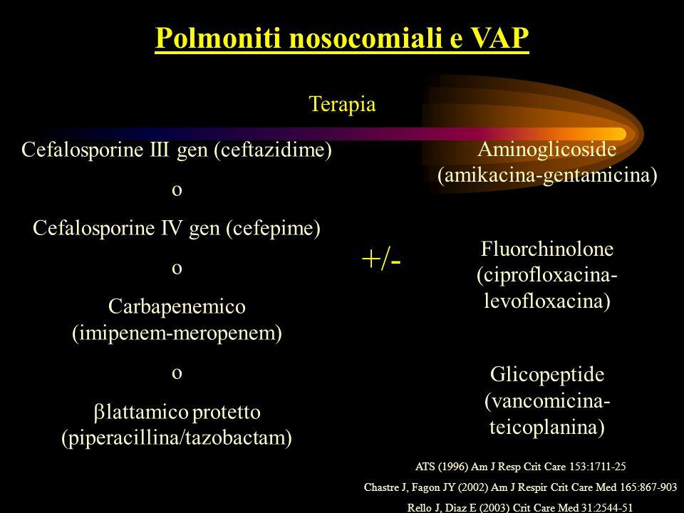 Polmoniti nosocomiali e VAP Terapia Cefalosporine III gen (ceftazidime) o Cefalosporine IV gen (cefepime) o Carbapenemico (imipenem-meropenem) o latta