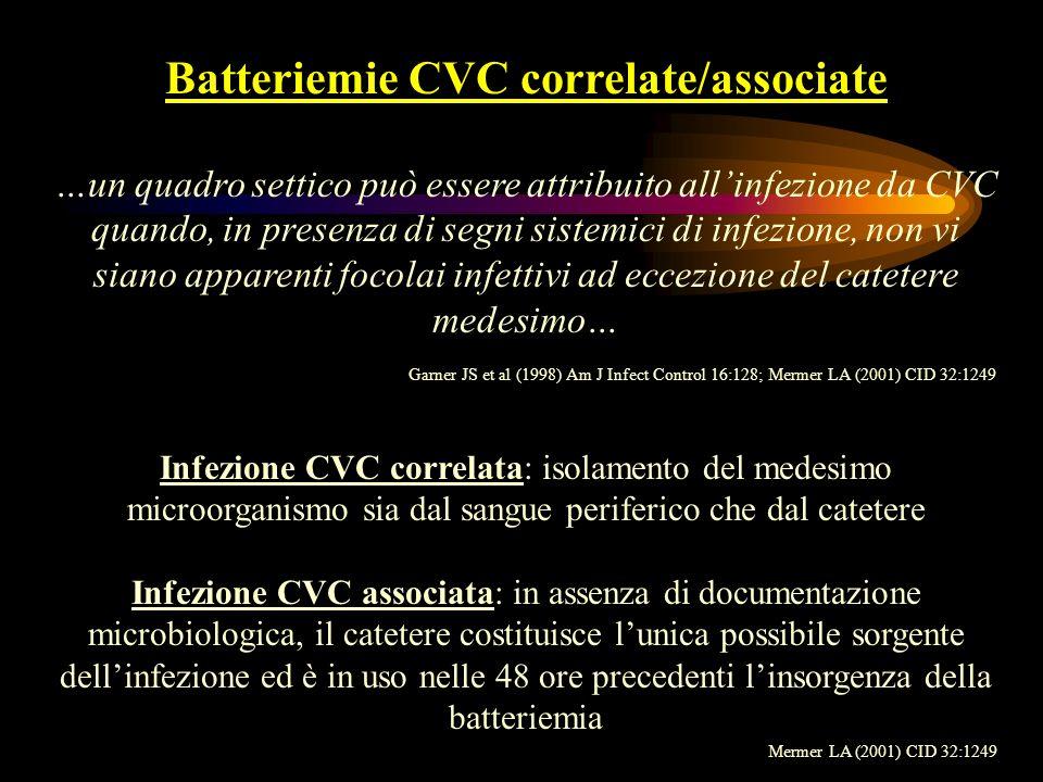 Batteriemie CVC correlate/associate Incidenza USA: 14 % Tasso di infezione: 5.3 episodi/1000 gg di CVC Europa: 3-7% delle batteriemie nosocomiali Eziologia: 38.7 % CNS 11.9 % Enterobacteriaceae 11.5 % S.aureus 11.5 % Candida spp CDC NNIS System (1996);Henderson DK (2000) Principles and practice of infectious disease CDC NNIS System (1996) Fiorio M et al (1997) Gior It Mal Inf 3(suppl1):S14-16