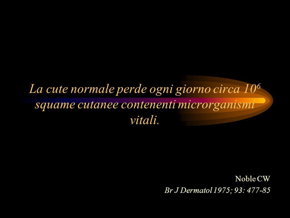 La cute normale perde ogni giorno circa 10 6 squame cutanee contenenti microrganismi vitali. Noble CW Br J Dermatol 1975; 93: 477-85
