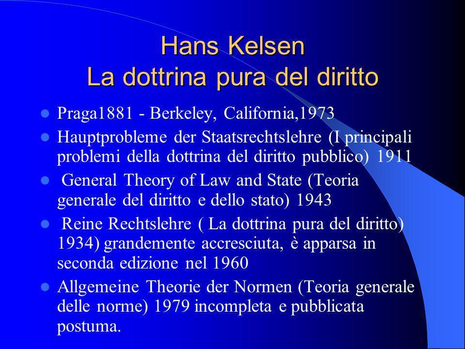 Hans Kelsen La dottrina pura del diritto Praga1881 - Berkeley, California,1973 Hauptprobleme der Staatsrechtslehre (I principali problemi della dottrina del diritto pubblico) 1911 General Theory of Law and State (Teoria generale del diritto e dello stato) 1943 Reine Rechtslehre ( La dottrina pura del diritto) 1934) grandemente accresciuta, è apparsa in seconda edizione nel 1960 Allgemeine Theorie der Normen (Teoria generale delle norme) 1979 incompleta e pubblicata postuma.