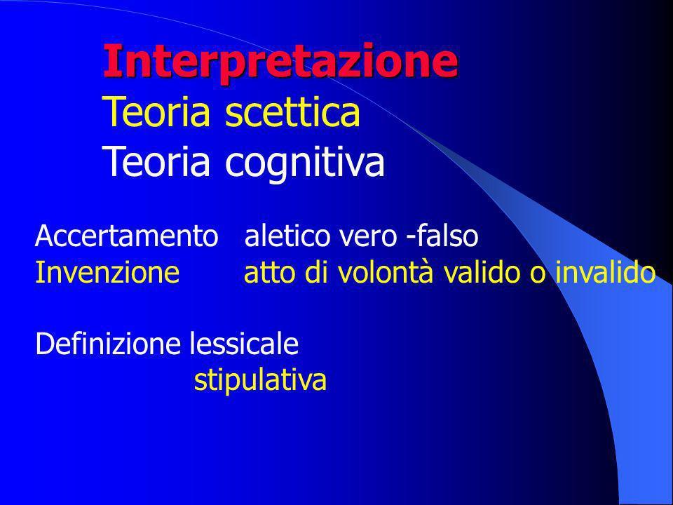 Interpretazione Teoria scettica Teoria cognitiva Accertamento aletico vero -falso Invenzione atto di volontà valido o invalido Definizione lessicale stipulativa