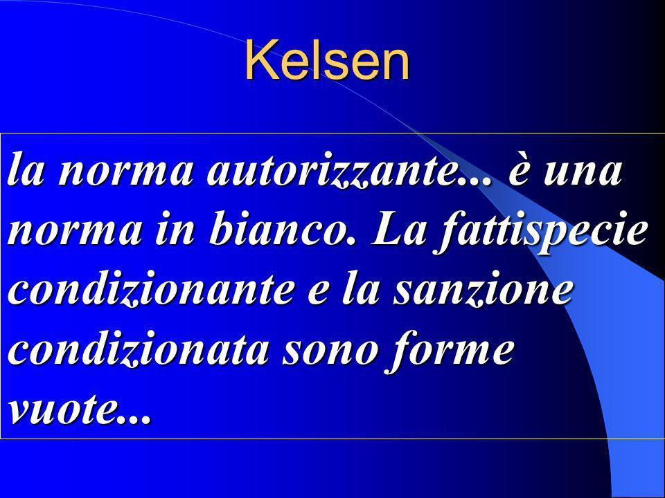 Kelsen la norma autorizzante... è una norma in bianco.