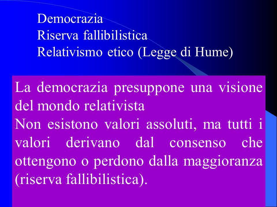 Democrazia Riserva fallibilistica Relativismo etico (Legge di Hume) La democrazia presuppone una visione del mondo relativista Non esistono valori assoluti, ma tutti i valori derivano dal consenso che ottengono o perdono dalla maggioranza (riserva fallibilistica).