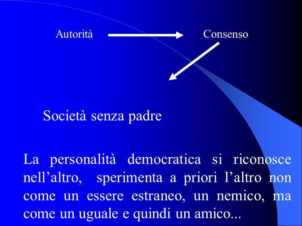 Autorità Consenso Società senza padre La personalità democratica si riconosce nellaltro, sperimenta a priori laltro non come un essere estraneo, un nemico, ma come un uguale e quindi un amico...