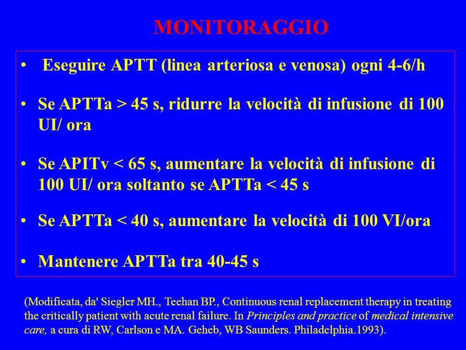 Eseguire APTT (linea arteriosa e venosa) ogni 4-6/h Se APTTa > 45 s, ridurre la velocità di infusione di 100 UI/ ora Se APITv < 65 s, aumentare la vel