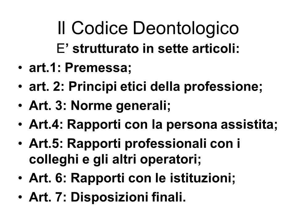 Il Codice Deontologico E strutturato in sette articoli: art.1: Premessa; art. 2: Principi etici della professione; Art. 3: Norme generali; Art.4: Rapp