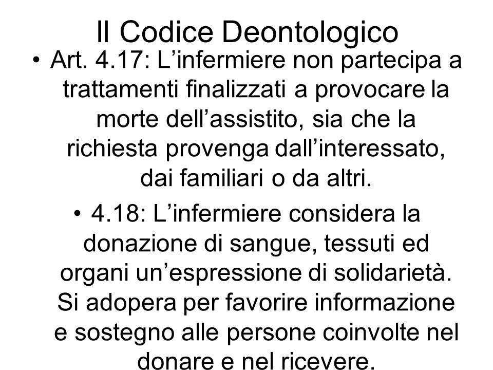 Il Codice Deontologico Art. 4.17: Linfermiere non partecipa a trattamenti finalizzati a provocare la morte dellassistito, sia che la richiesta proveng