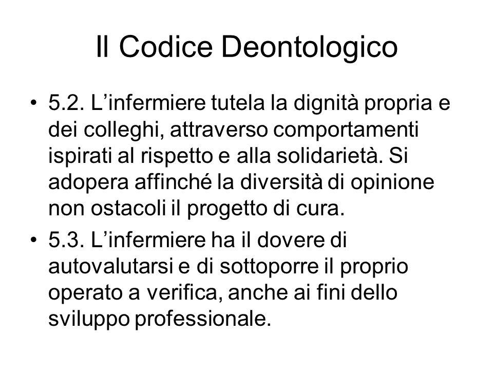 Il Codice Deontologico 5.2. Linfermiere tutela la dignità propria e dei colleghi, attraverso comportamenti ispirati al rispetto e alla solidarietà. Si