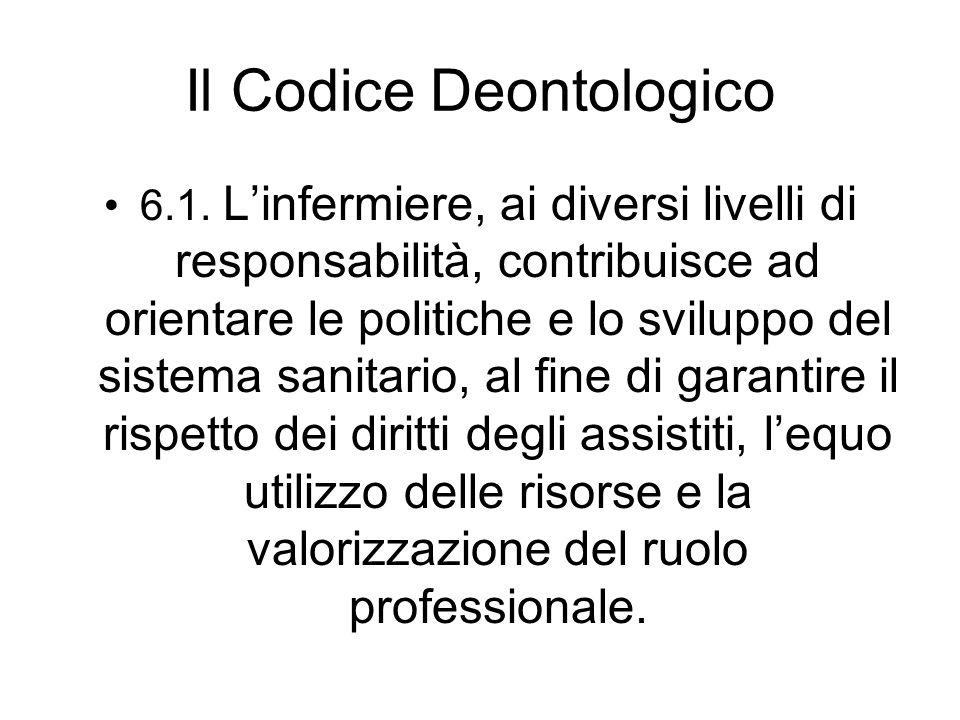 Il Codice Deontologico 6.1. Linfermiere, ai diversi livelli di responsabilità, contribuisce ad orientare le politiche e lo sviluppo del sistema sanita