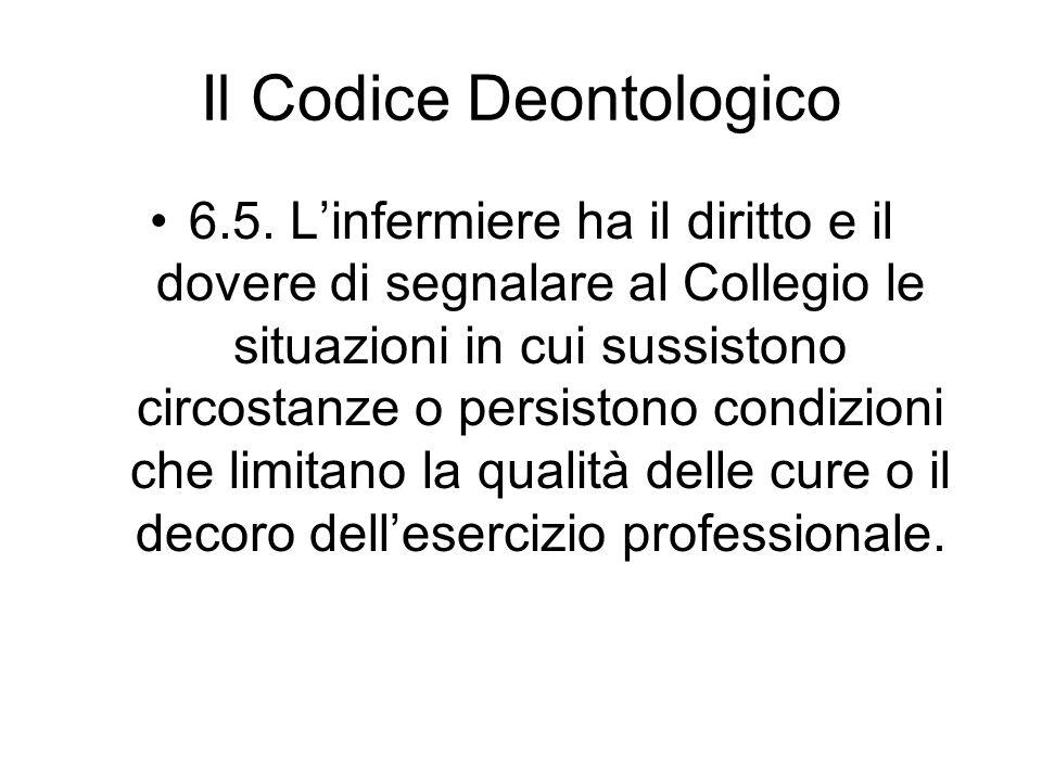 Il Codice Deontologico 6.5. Linfermiere ha il diritto e il dovere di segnalare al Collegio le situazioni in cui sussistono circostanze o persistono co
